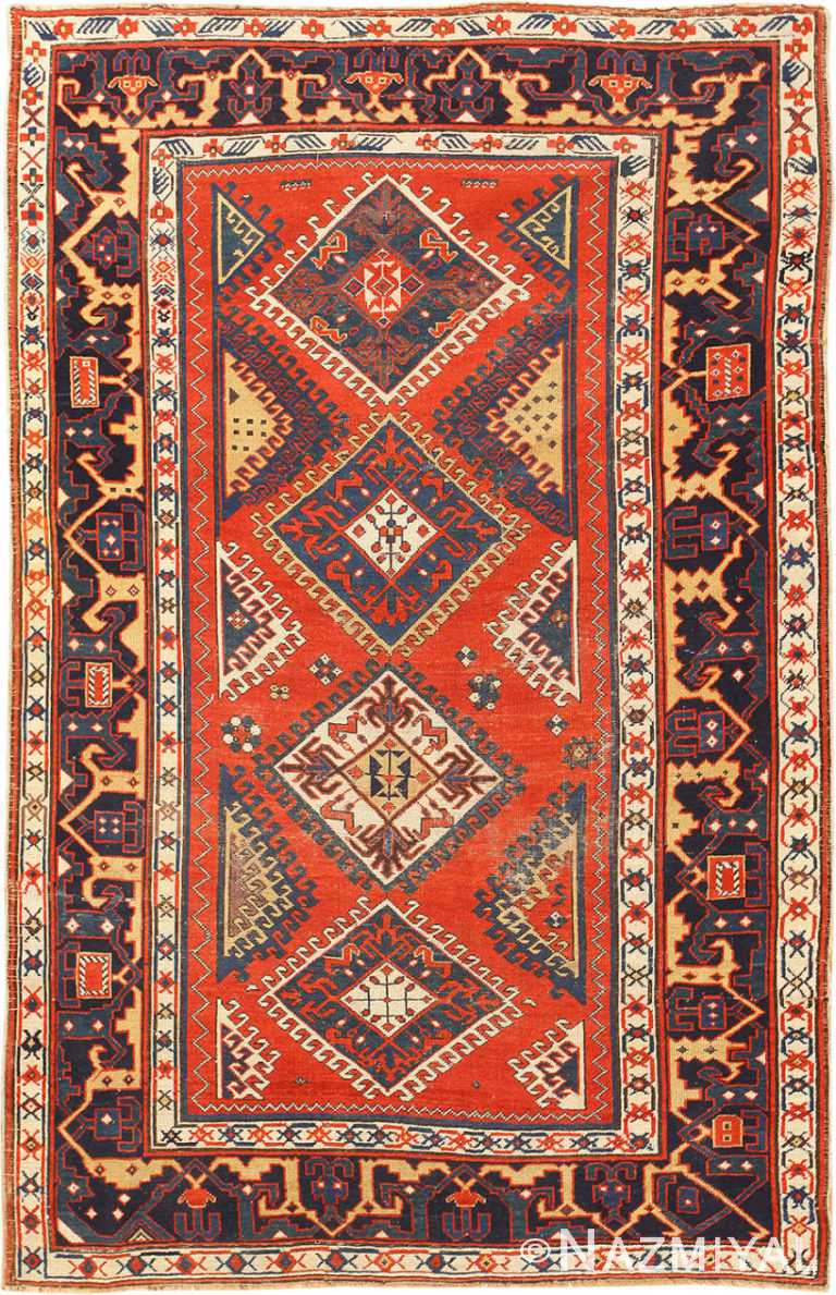 Shabby Chic Tribal Antique Caucasian Kazak Rug 48827 Nazmiyal