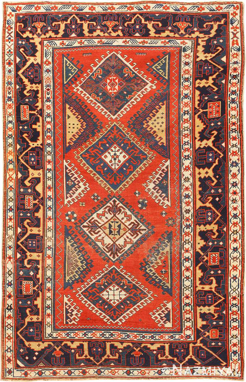 Shabby Chic Tribal Antique Caucasian Kazak Rug 48827 Nazmiyal