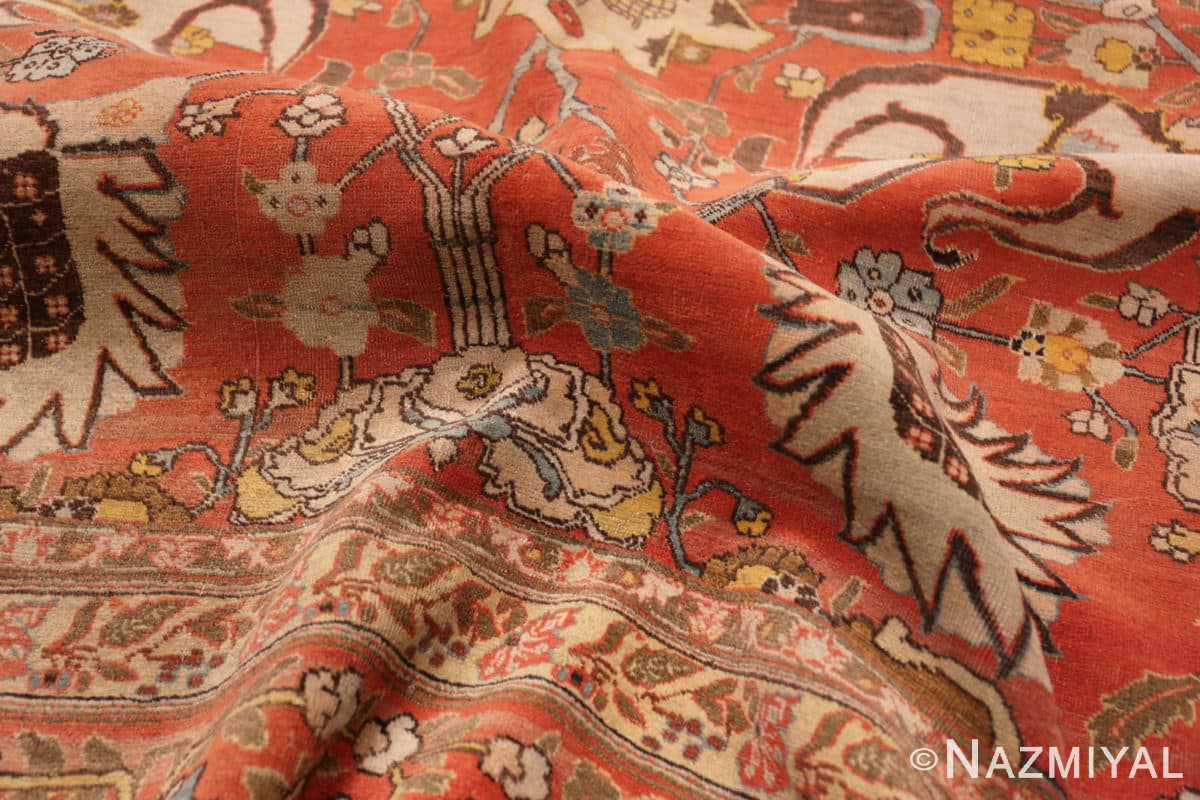 Texture Fine vase design Antique Persian Tabriz Haji Jalili rug 48868 by Nazmiyal