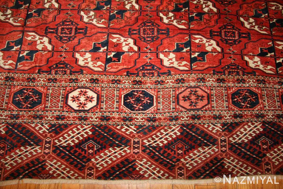 tribal antique room size caucasian turkoman bokara rug 50526 border Nazmiyal