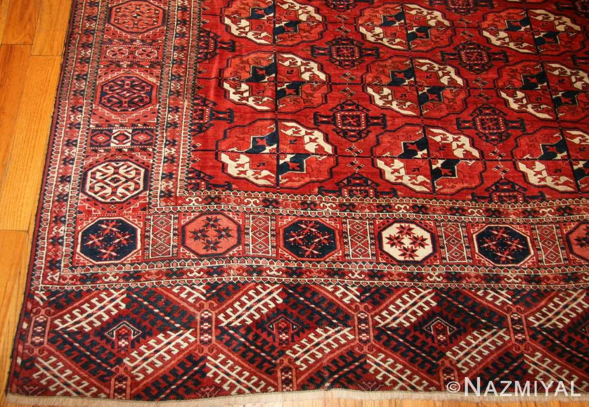 tribal antique room size caucasian turkoman bokara rug 50526 corner Nazmiyal