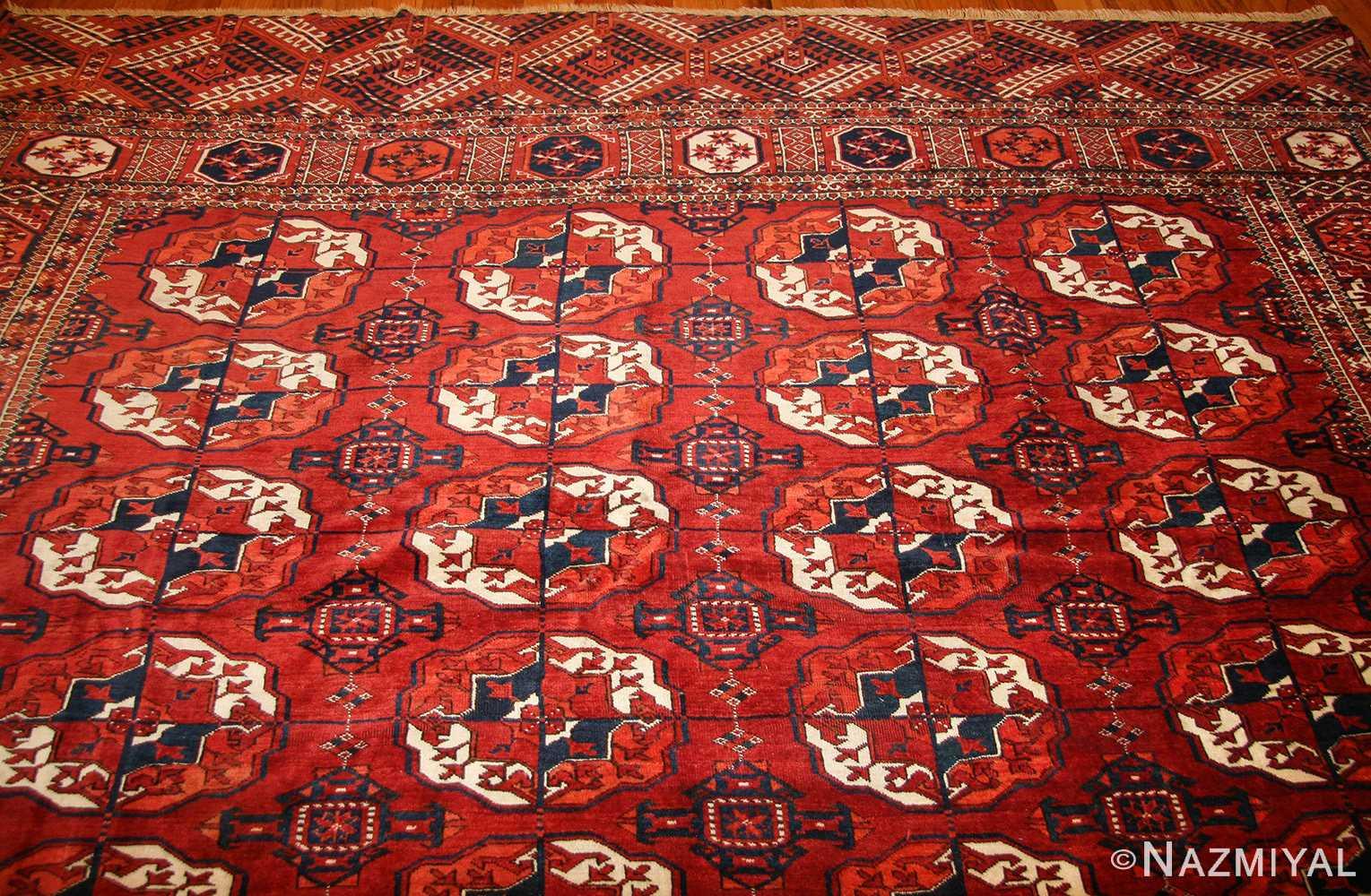 tribal antique room size caucasian turkoman bokara rug 50526 top Nazmiyal