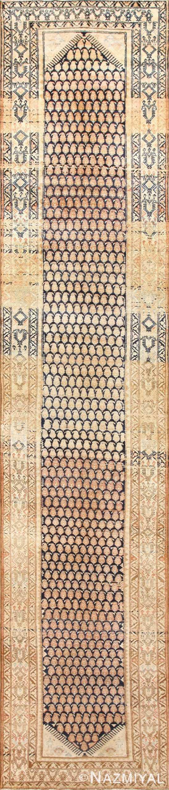 Tribal Paisley Design Antique Persian Malayer Runner Rug 50671 Nazmiyal