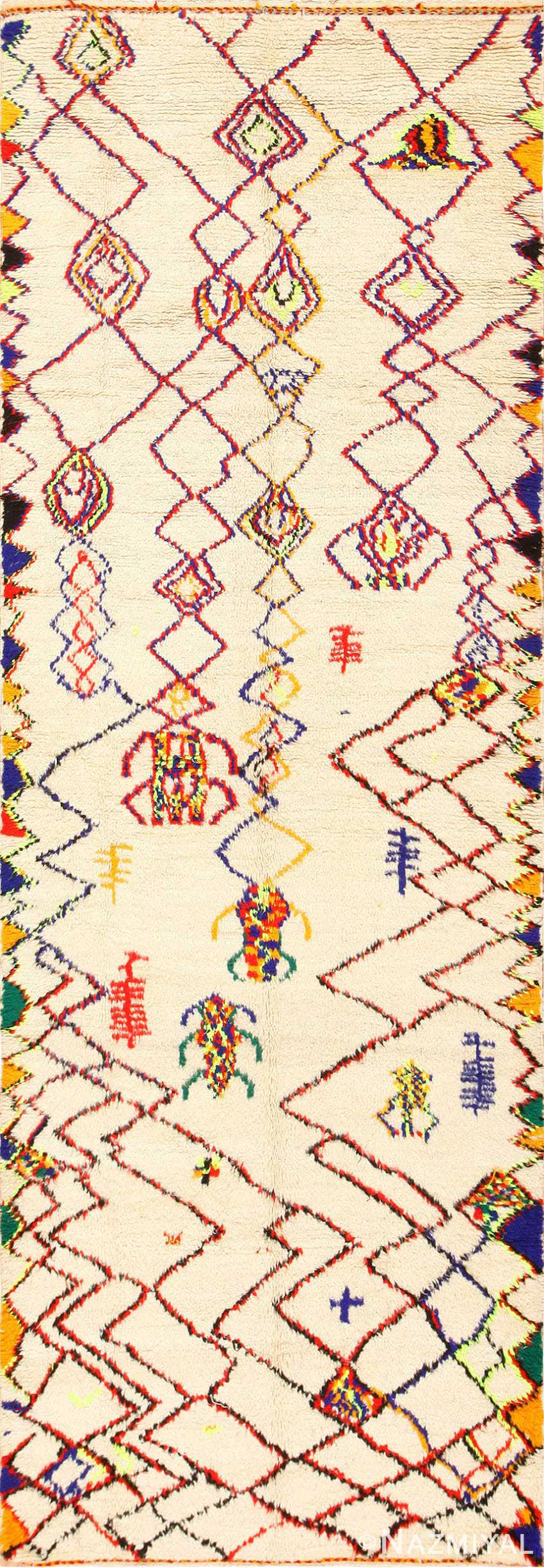 Vintage Beni Ourain Shaggy Moroccan Azilal Rug 48949 Nazmiyal