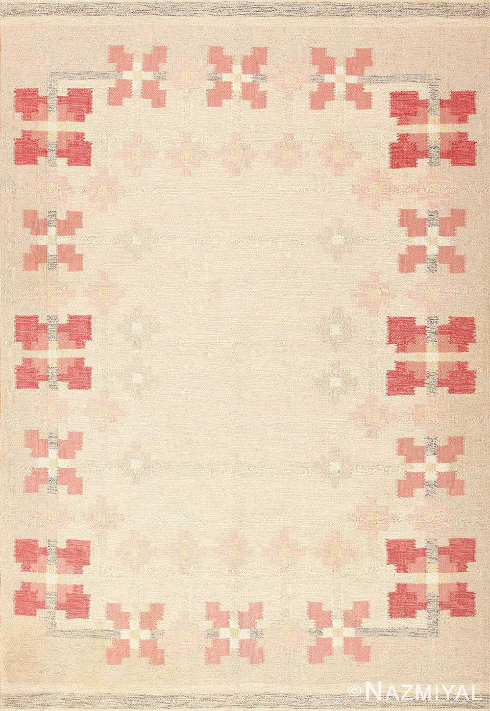 Vintage Flat Woven Swedish Kilim Scandinavian Rug 48978 Nazmiyal