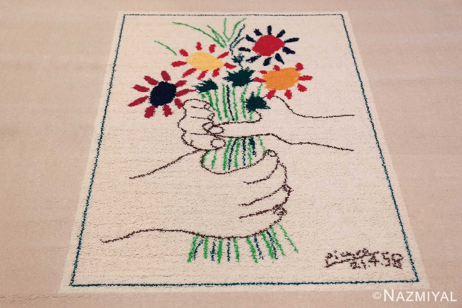 Vintage Le Bouquet Wall Tapestry Rug by Artist Pablo Picasso 48958 Middle Design Nazmiyal