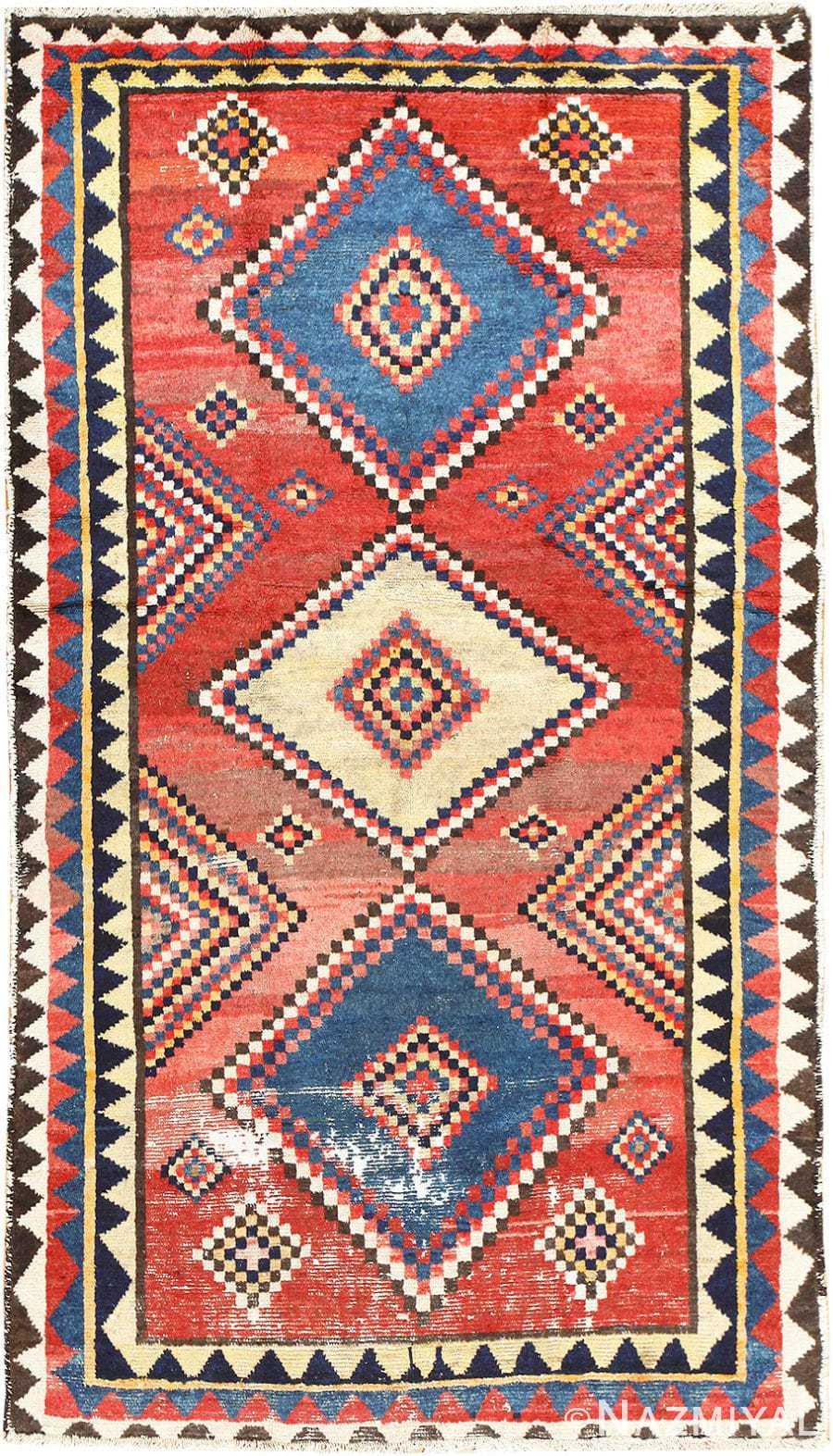 Vintage Tribal Shabby Chic Persian Gabbeh Rug 48966 Nazmiyal