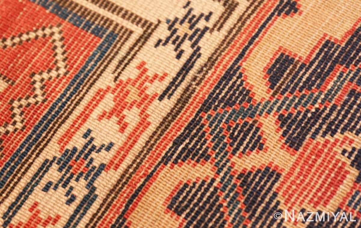 Weave detail Shabby chic tribal antique Caucasian Kazak rug 48827 by Nazmiyal