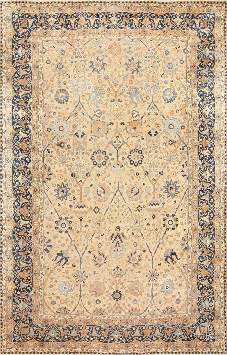Large Vase Design Antique Persian Kerman Rug 50701 Nazmiyal