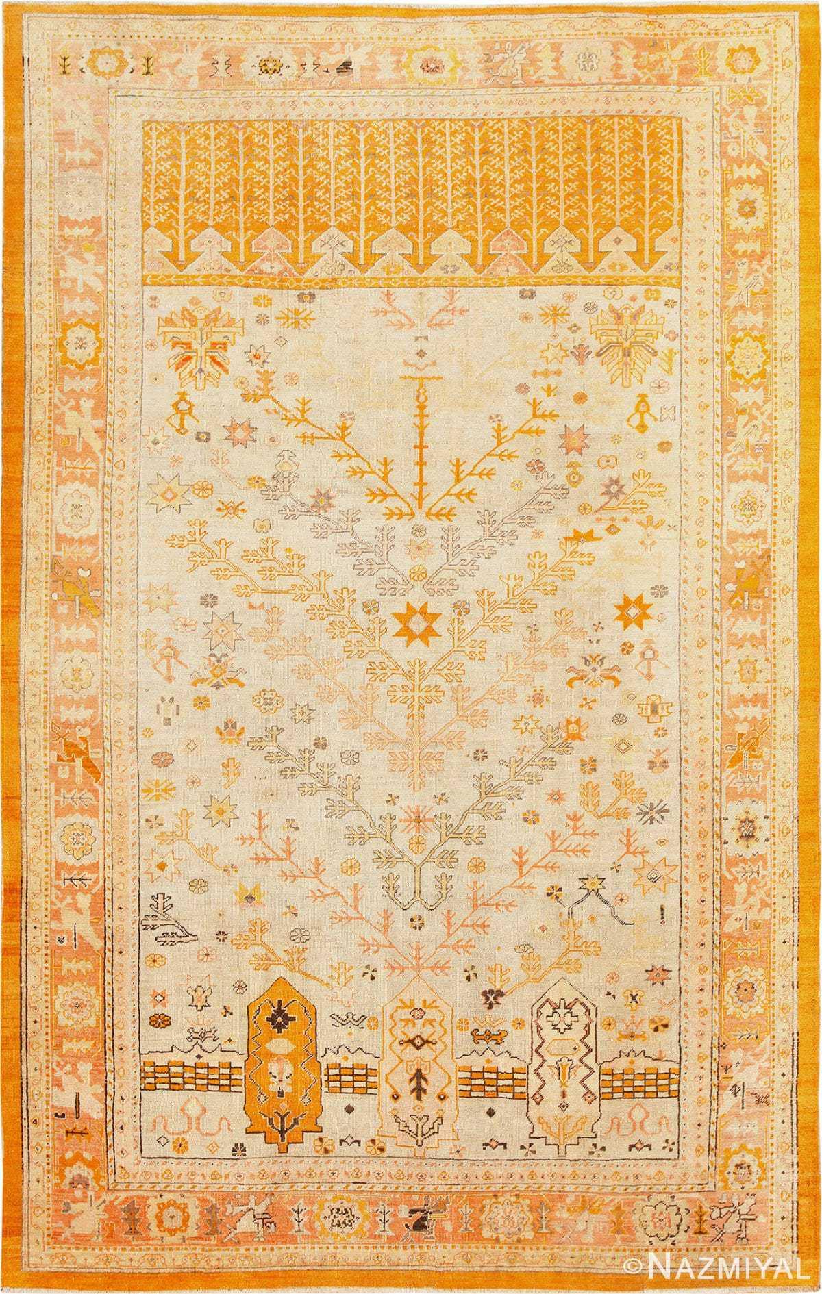 Decorative Tree Of Life Design Antique Turkish Oushak Rug 48976 Nazmiyal