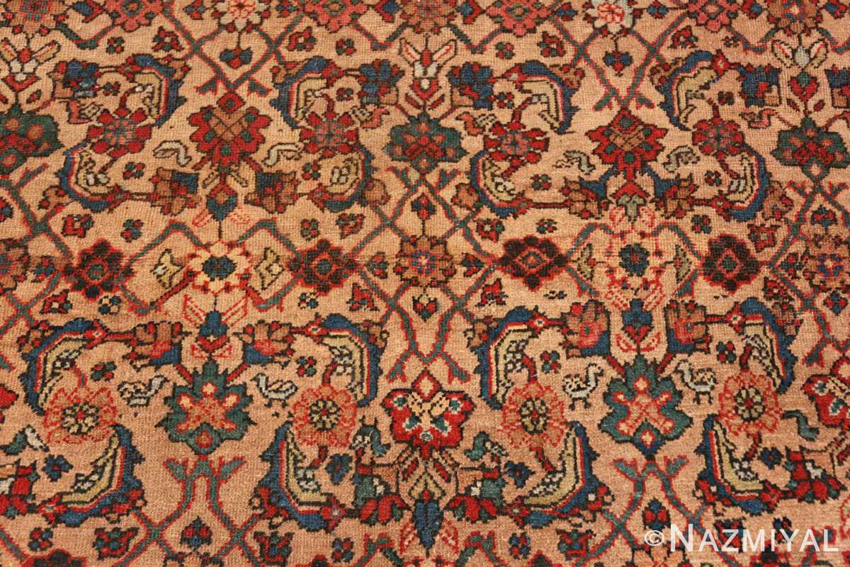 Detail Camel background Persian Sultanabad Antique rug 50660 by Nazmiyal