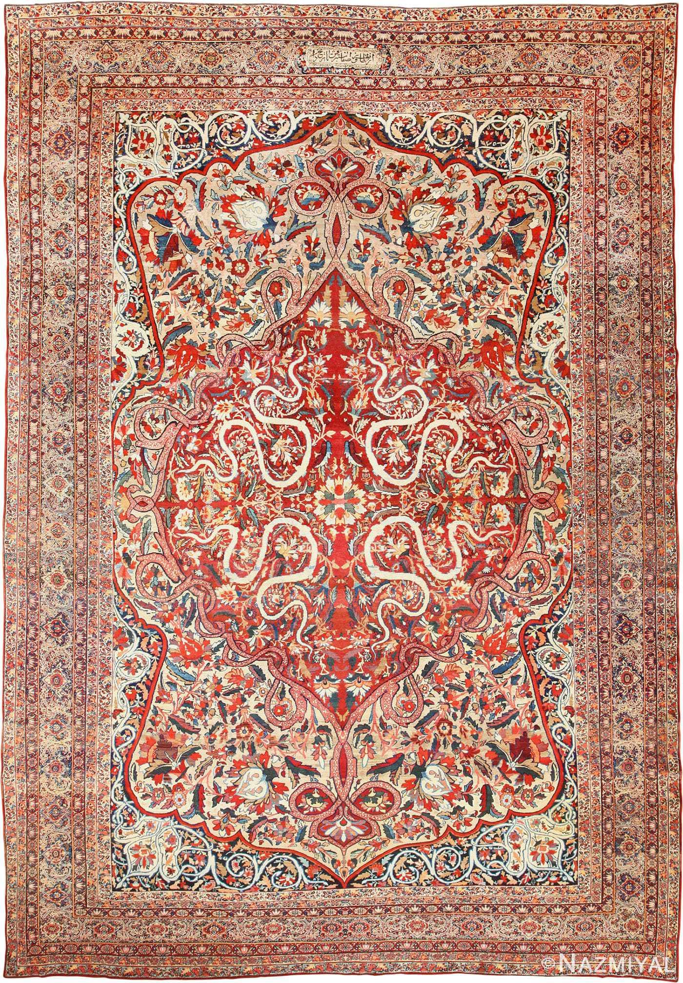 fine silk & wool persian kerman lavar antique rug 48957 nazmiyal Antique Rugs