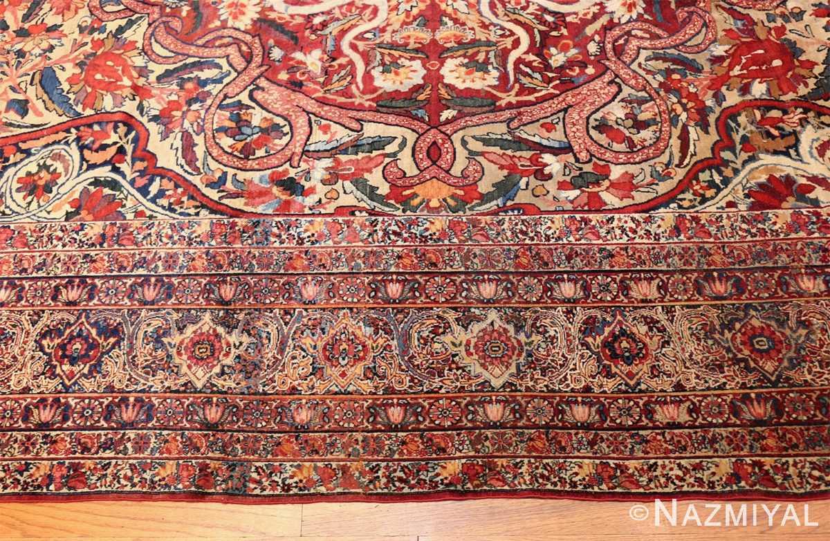 fine large silk and wool persian kerman lavar antique rug 48957 border Nazmiyal