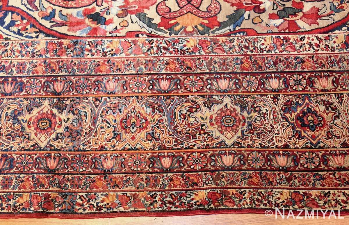fine large silk and wool persian kerman lavar antique rug 48957 border closeup Nazmiyal