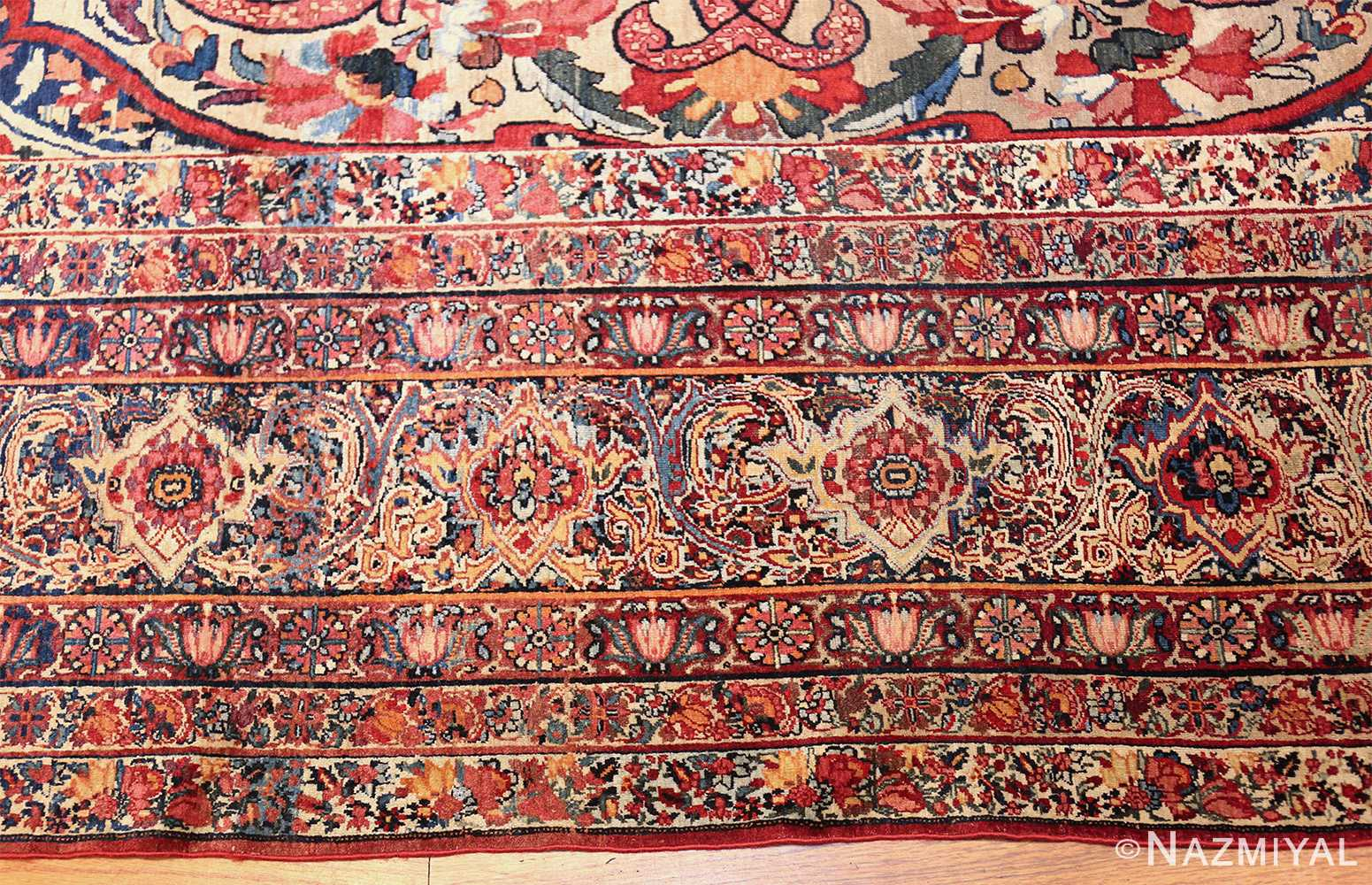 fine large silk and wool persian kerman lavar antique rug 48957 border closeup Nazmiyal