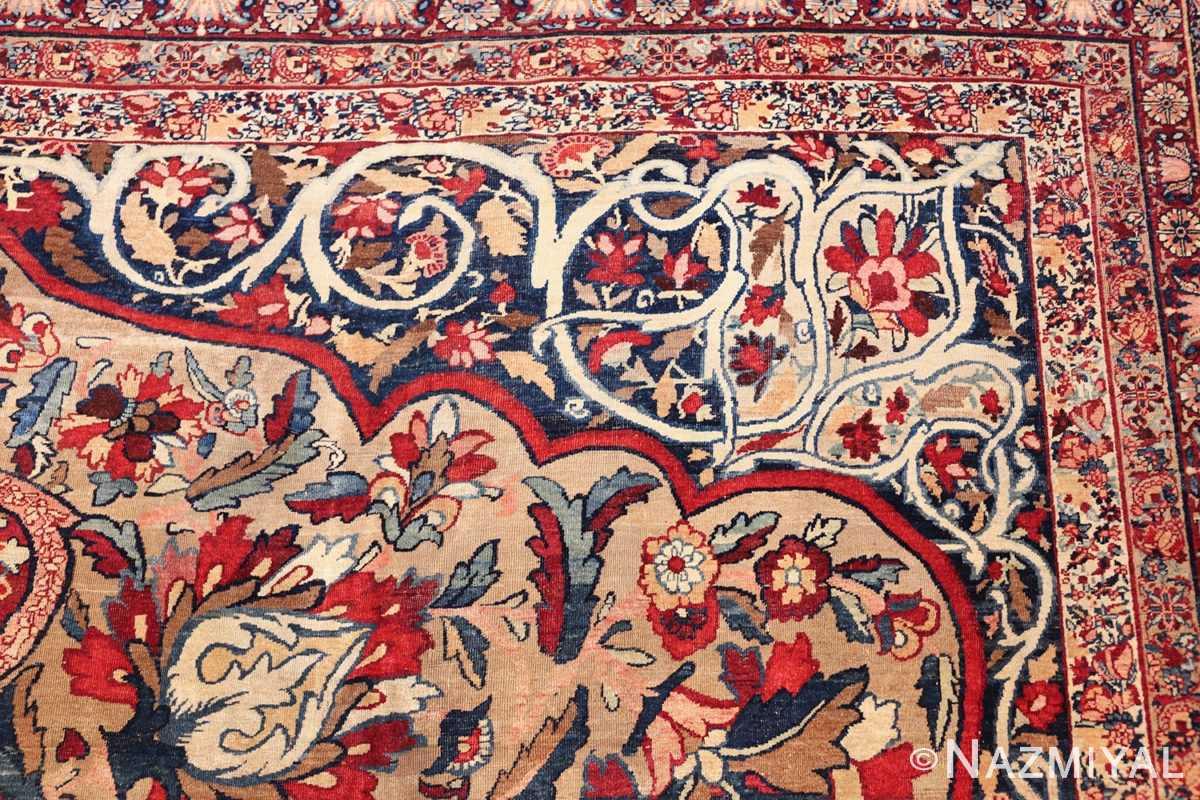 fine large silk and wool persian kerman lavar antique rug 48957 border side Nazmiyal