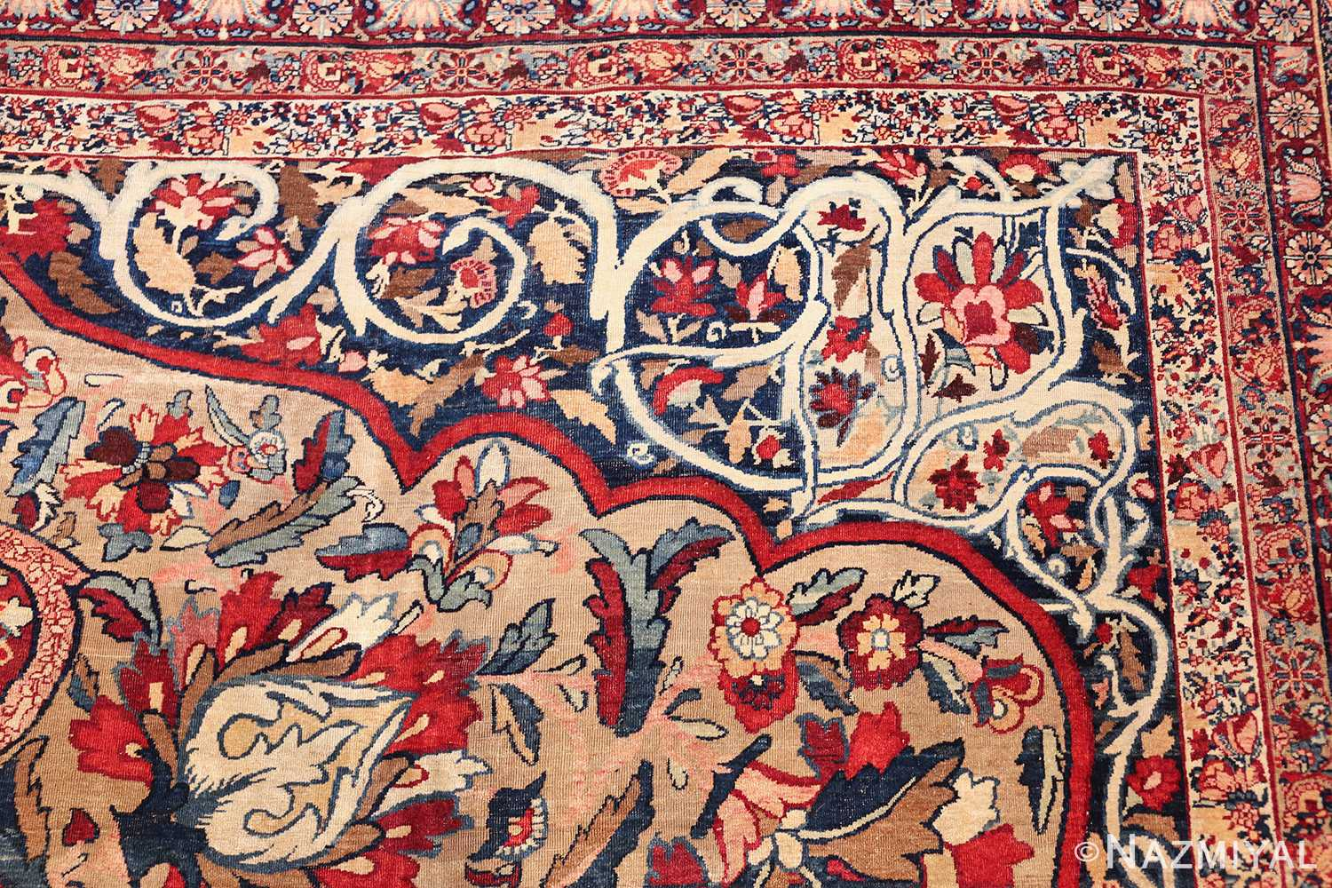 fine large silk and wool persian kerman lavar antique rug 48957 border side Nazmiyal