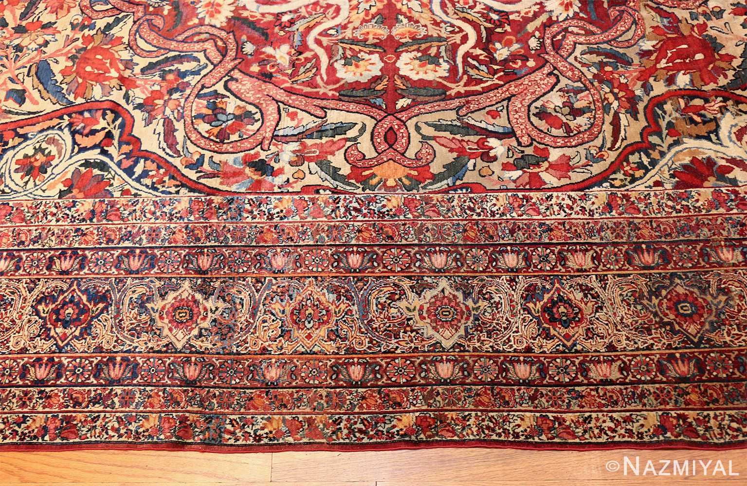 fine large silk and wool persian kerman lavar antique rug 48957 border Nazmiyal