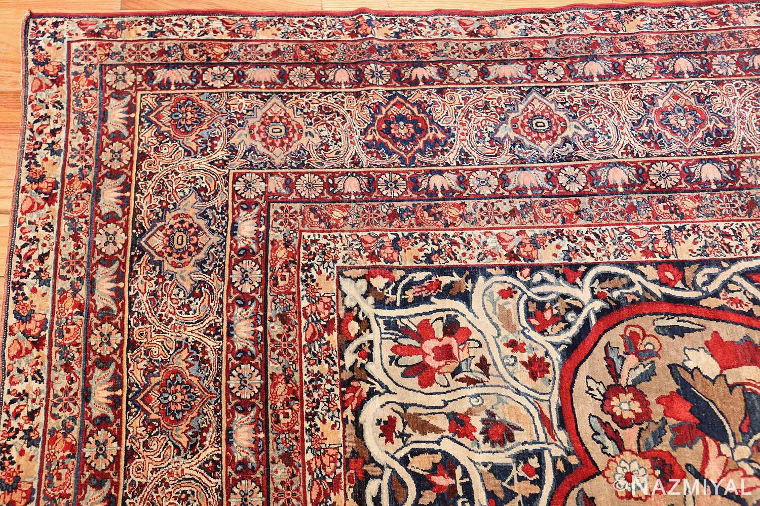 fine large silk and wool persian kerman lavar antique rug 48957 corner Nazmiyal