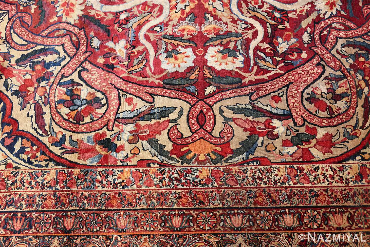 fine large silk and wool persian kerman lavar antique rug 48957 design Nazmiyal