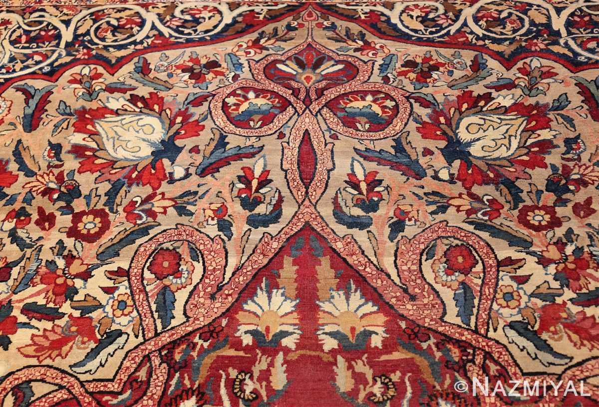 fine large silk and wool persian kerman lavar antique rug 48957 field top Nazmiyal