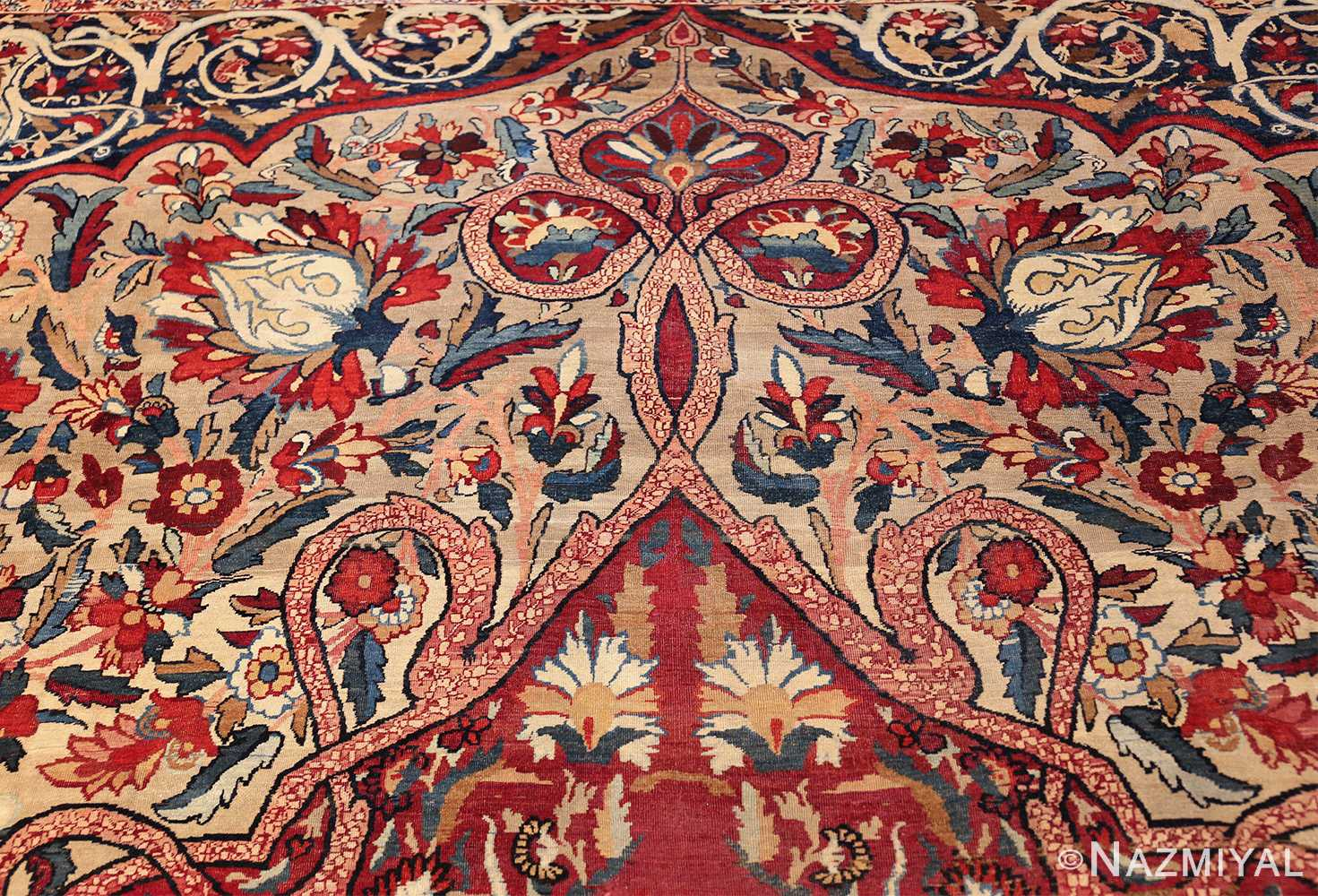 fine large silk and wool persian kerman lavar antique rug 48957 field top Nazmiyal