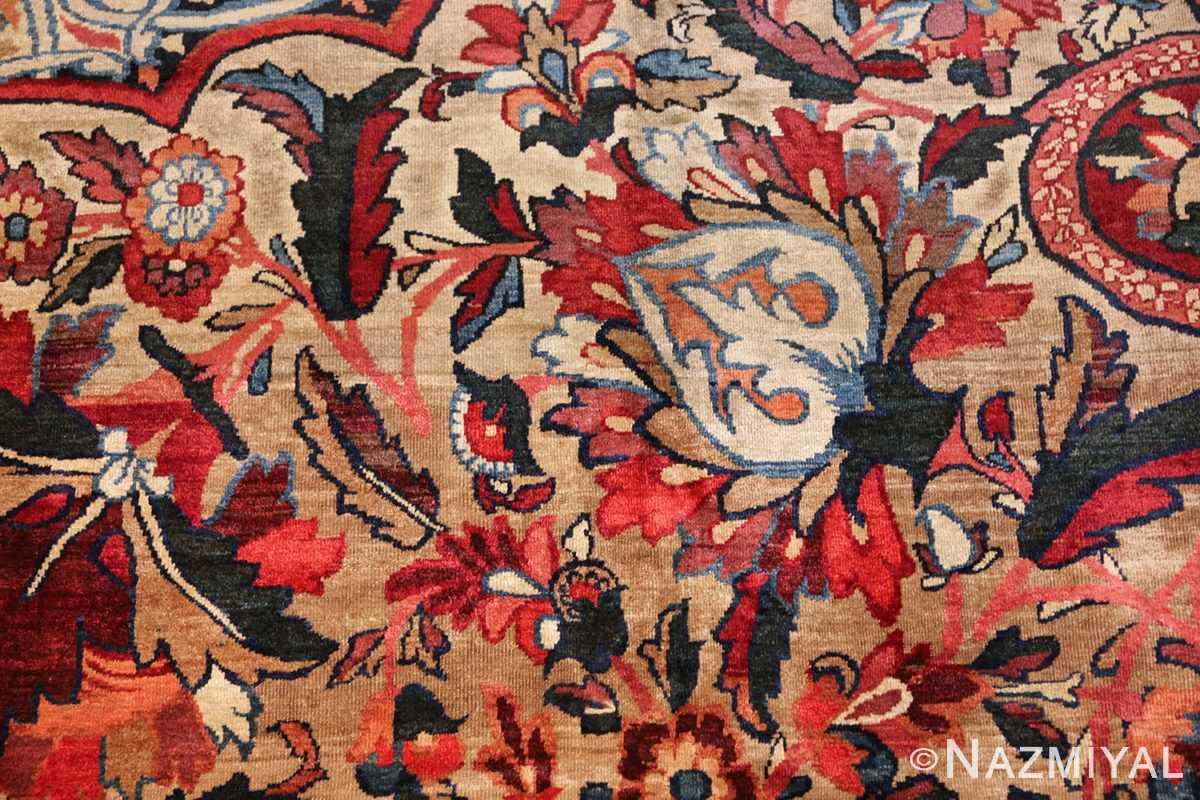 fine large silk and wool persian kerman lavar antique rug 48957 light brown Nazmiyal