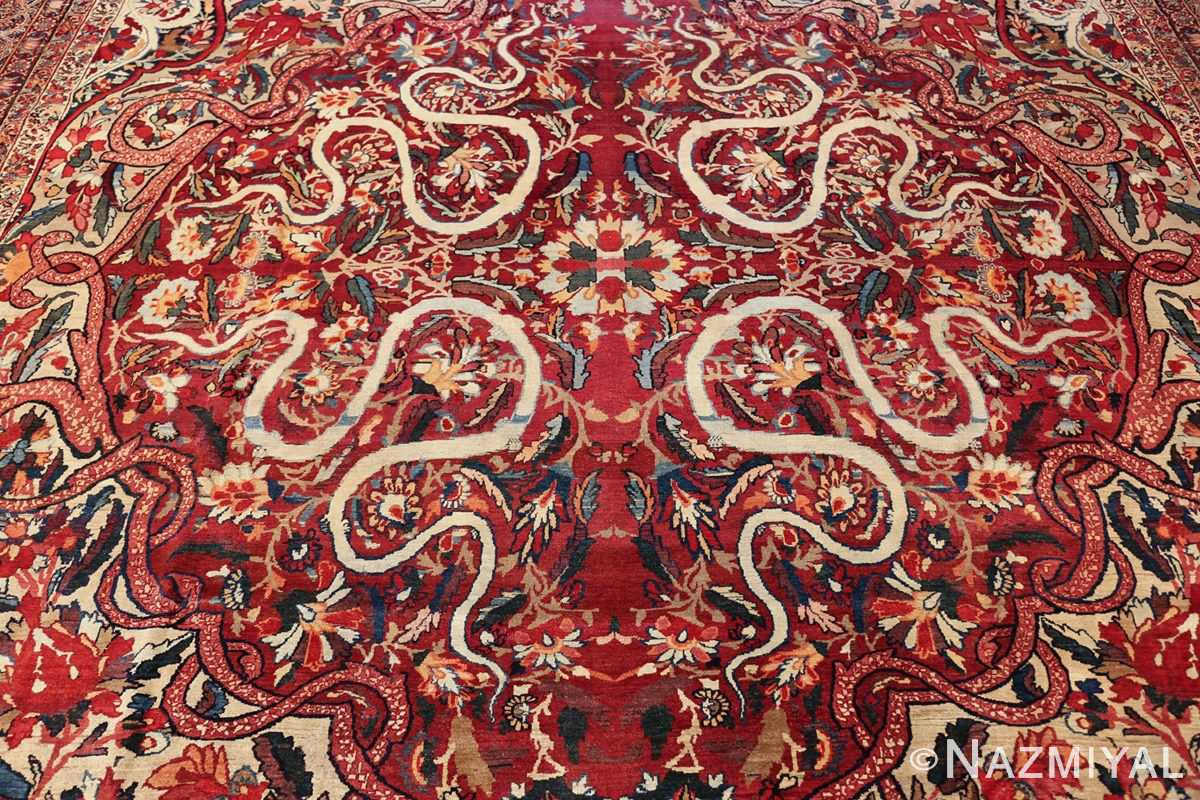 fine large silk and wool persian kerman lavar antique rug 48957 medallion Nazmiyal