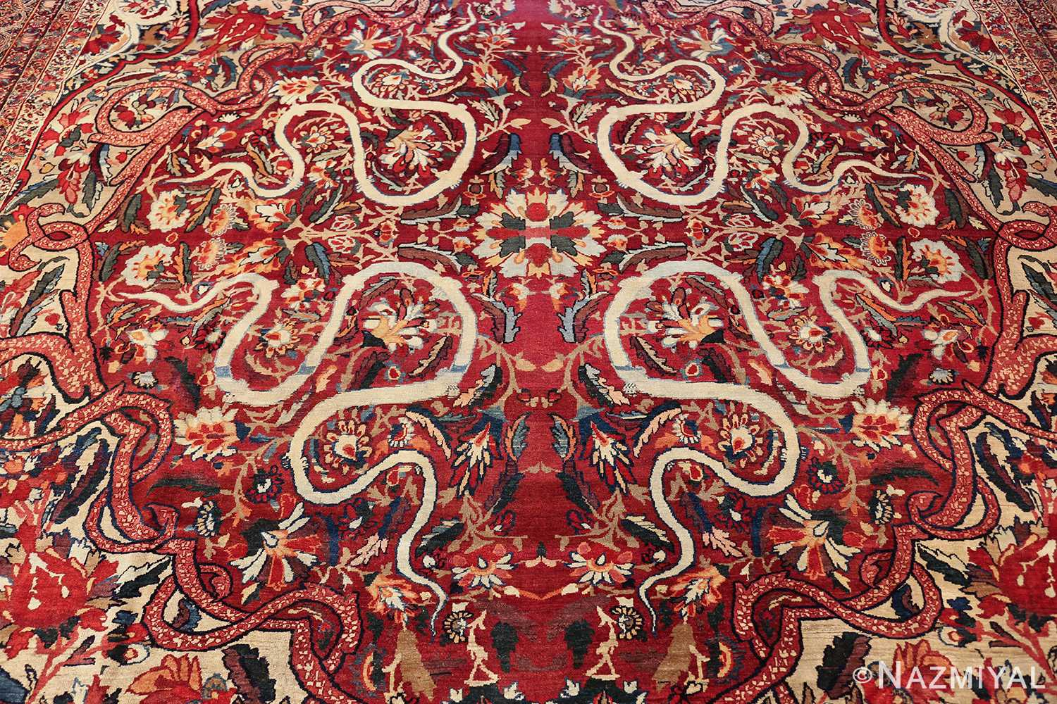 fine large silk and wool persian kerman lavar antique rug 48957 medallion Nazmiyal
