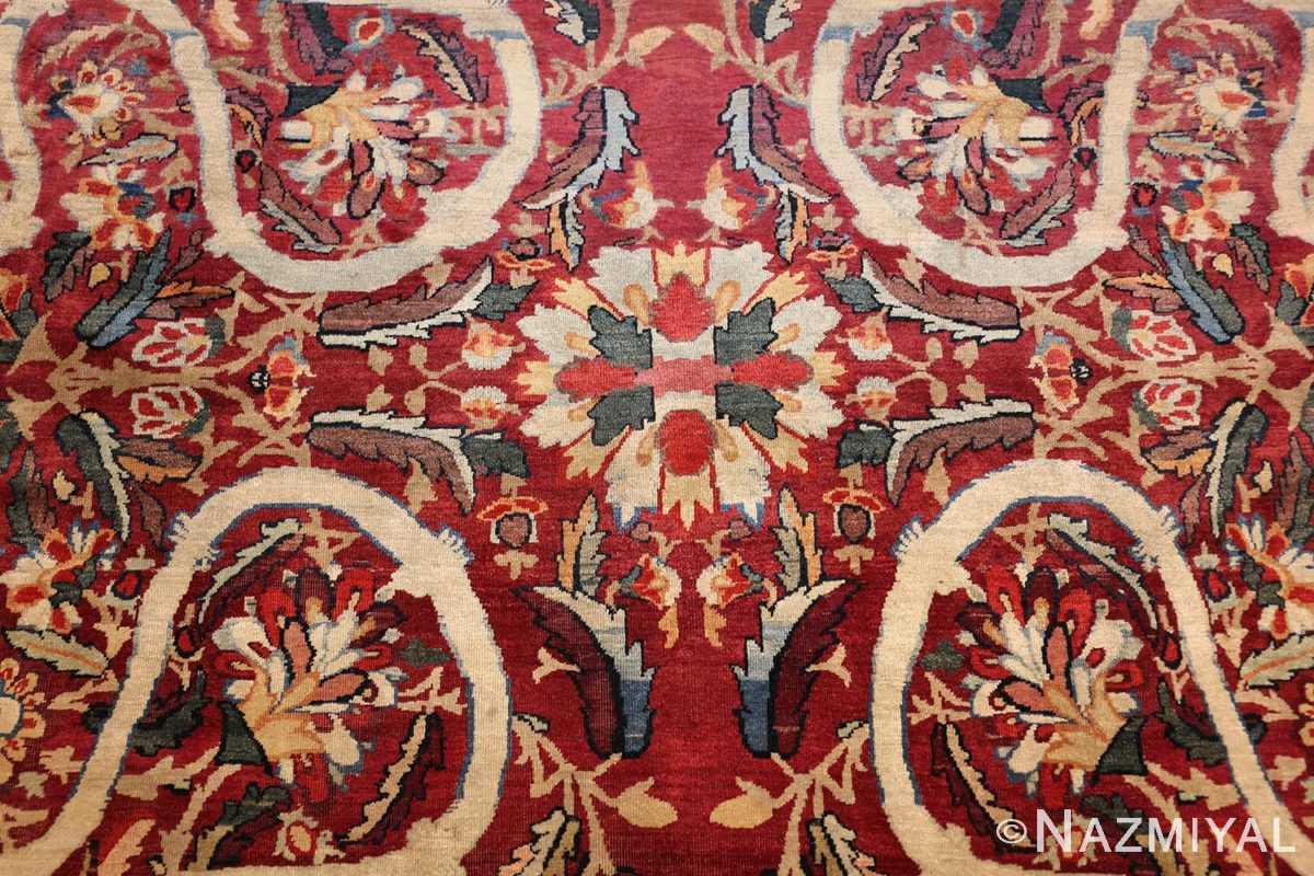 fine large silk and wool persian kerman lavar antique rug 48957 petals Nazmiyal