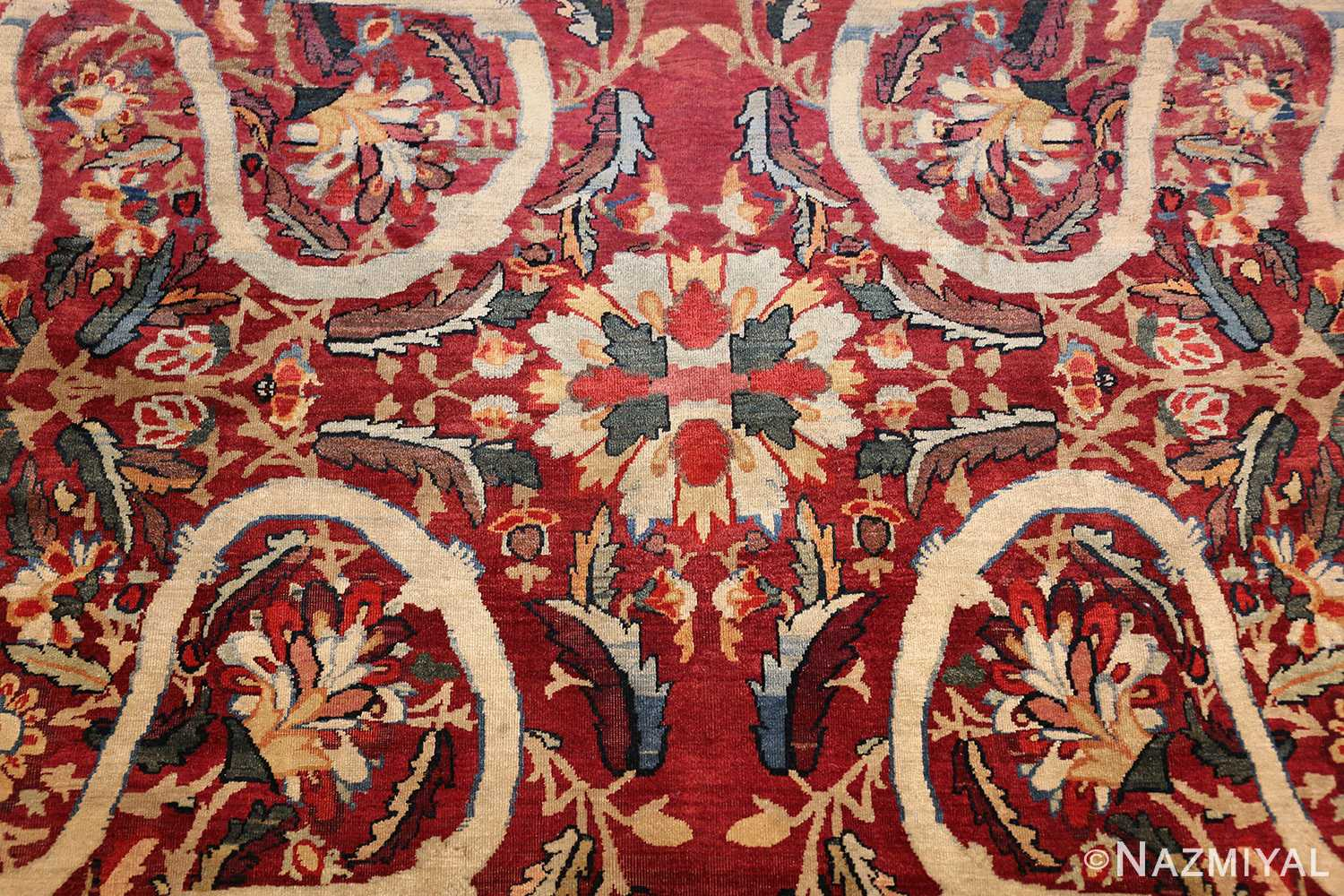 fine large silk and wool persian kerman lavar antique rug 48957 petals Nazmiyal