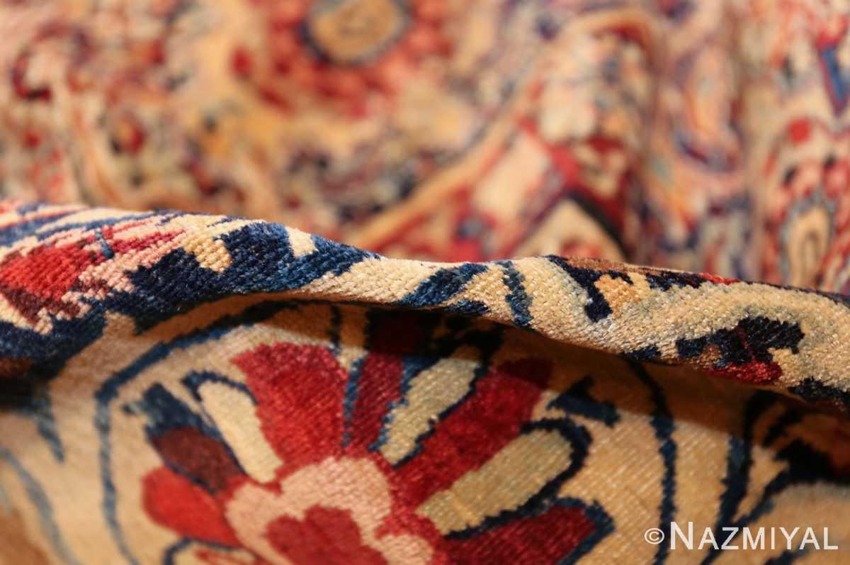 fine large silk and wool persian kerman lavar antique rug 48957 pile Nazmiyal