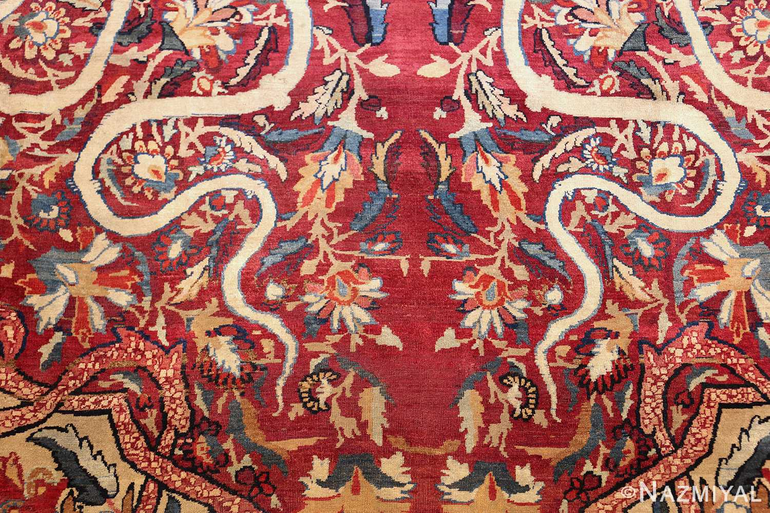 fine large silk and wool persian kerman lavar antique rug 48957 scrolls Nazmiyal