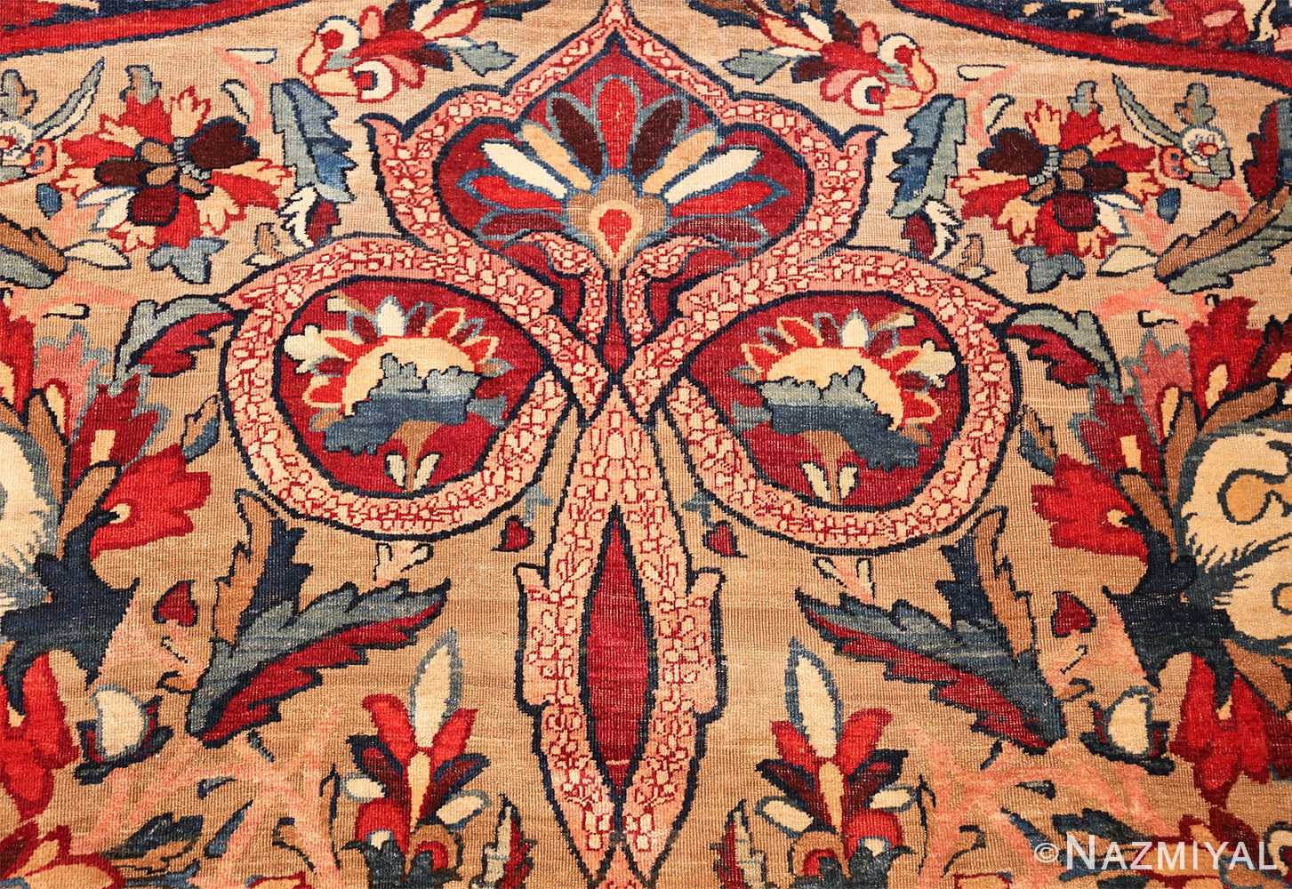 fine large silk and wool persian kerman lavar antique rug 48957 tiara Nazmiyal
