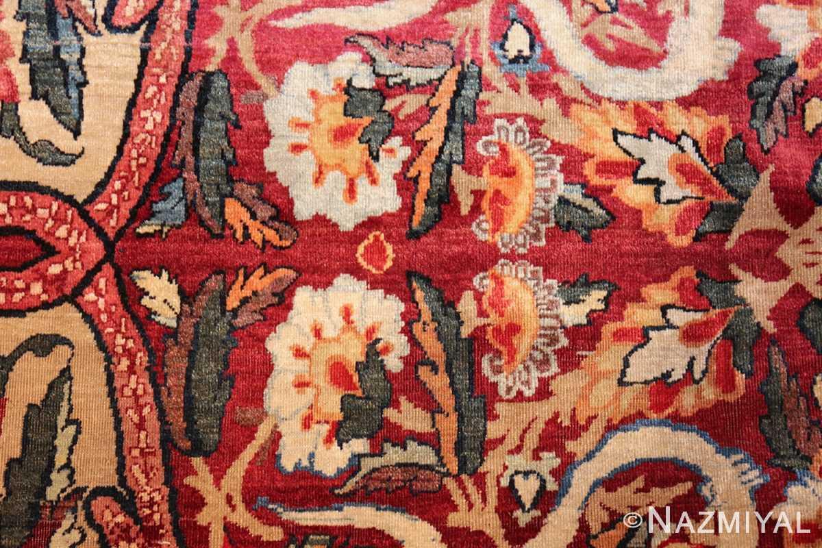 fine large silk and wool persian kerman lavar antique rug 48957 white flower Nazmiyal