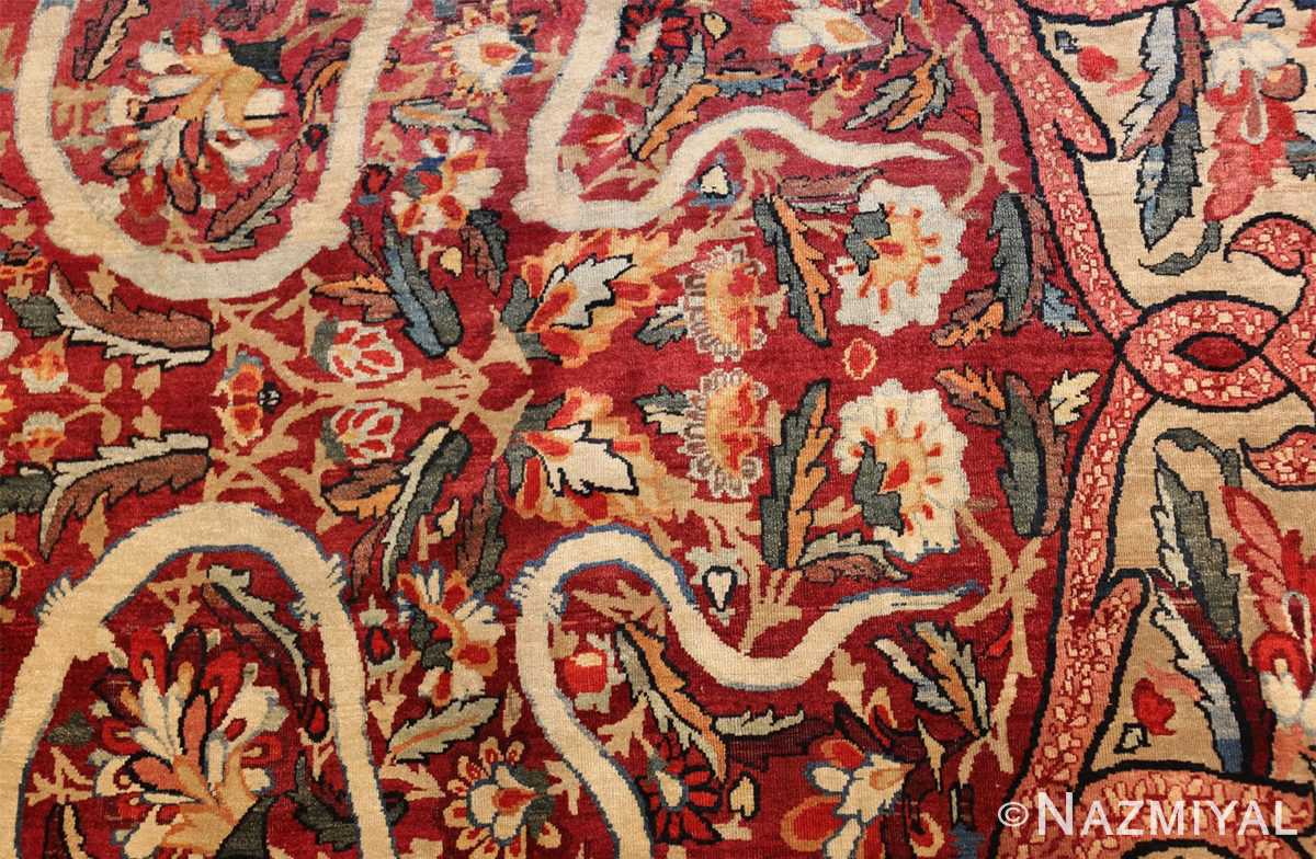 fine large silk and wool persian kerman lavar antique rug 48957 white scrolls Nazmiyal