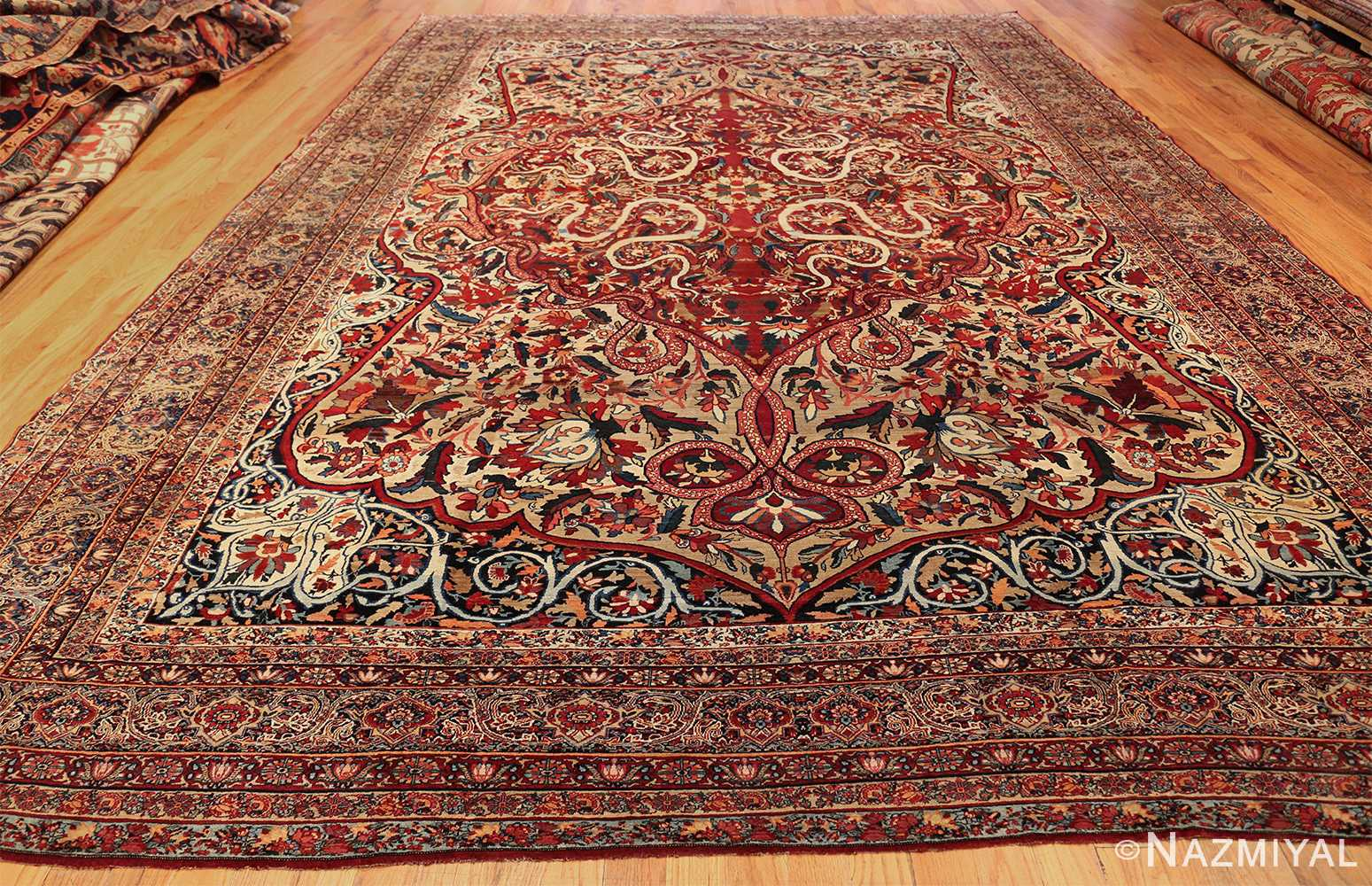 fine large silk and wool persian kerman lavar antique rug 48957 whole Nazmiyal