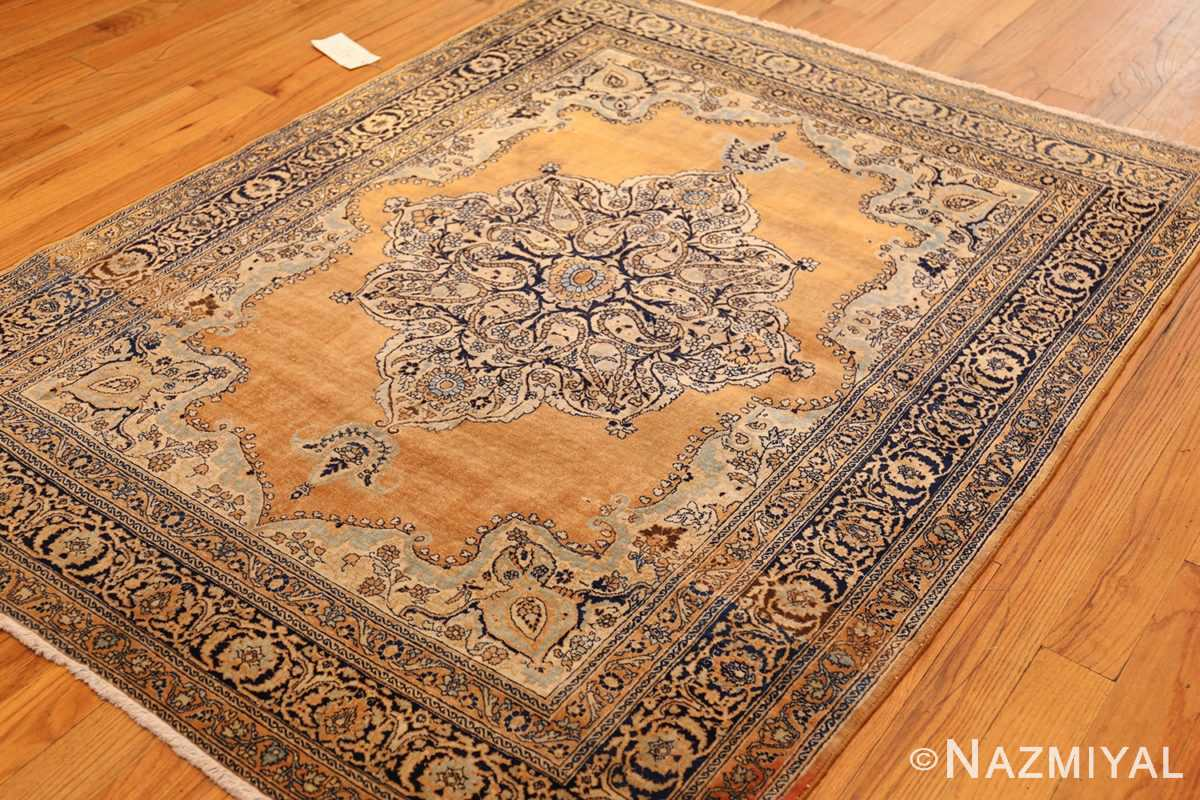 fine small scatter size antique persian tabriz rug 50693 side Nazmiyal