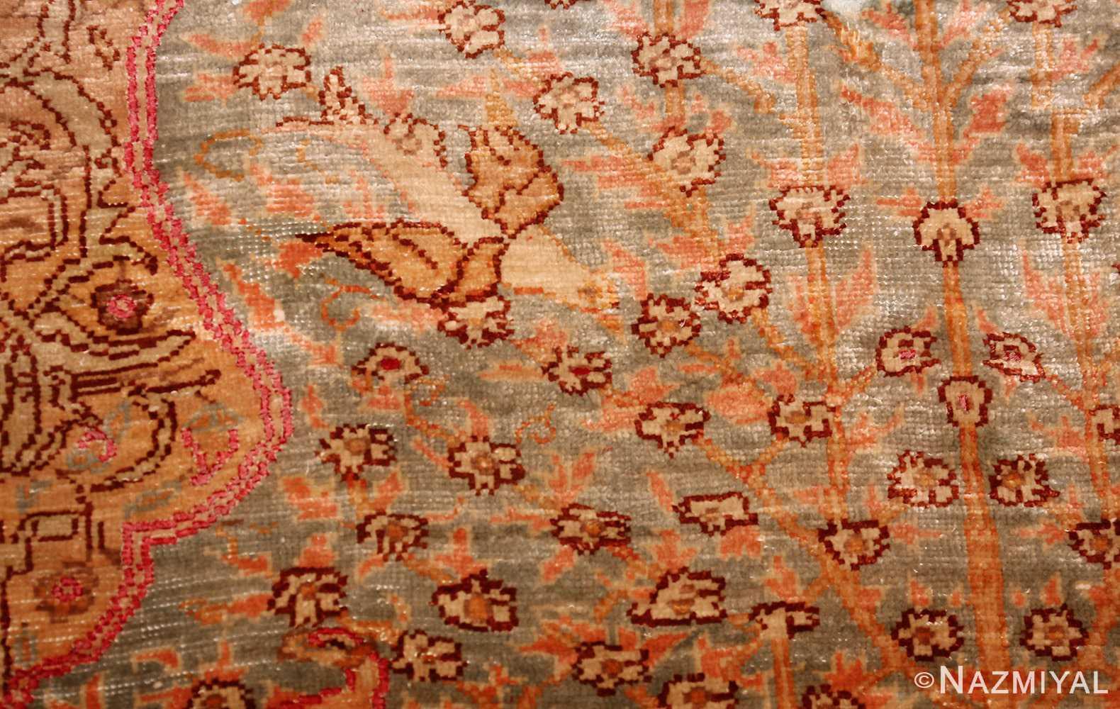 fine small size vintage silk turkish hereke prayer rug 50703 bird Nazmiyal