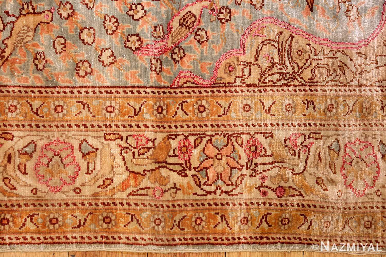 fine small size vintage silk turkish hereke prayer rug 50703 border Nazmiyal