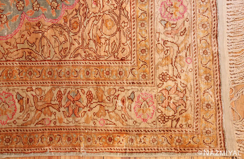 fine small size vintage silk turkish hereke prayer rug 50703 corner Nazmiyal