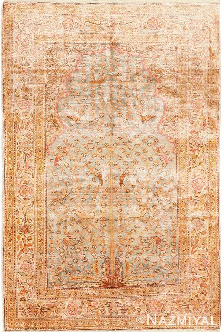 Fine Small Size Vintage Silk Turkish Hereke Prayer Rug 50703 Nazmiyal
