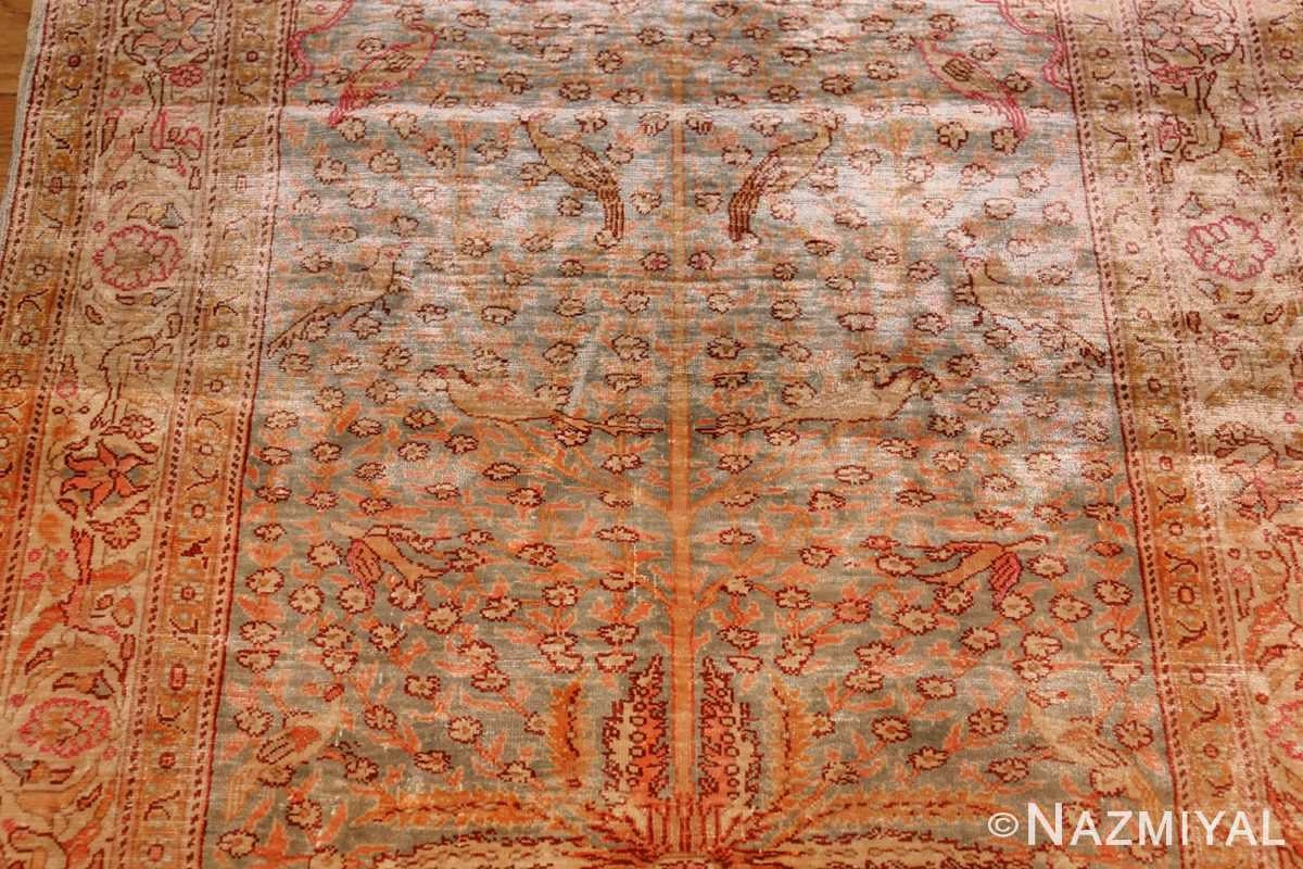 fine small size vintage silk turkish hereke prayer rug 50703 field Nazmiyal