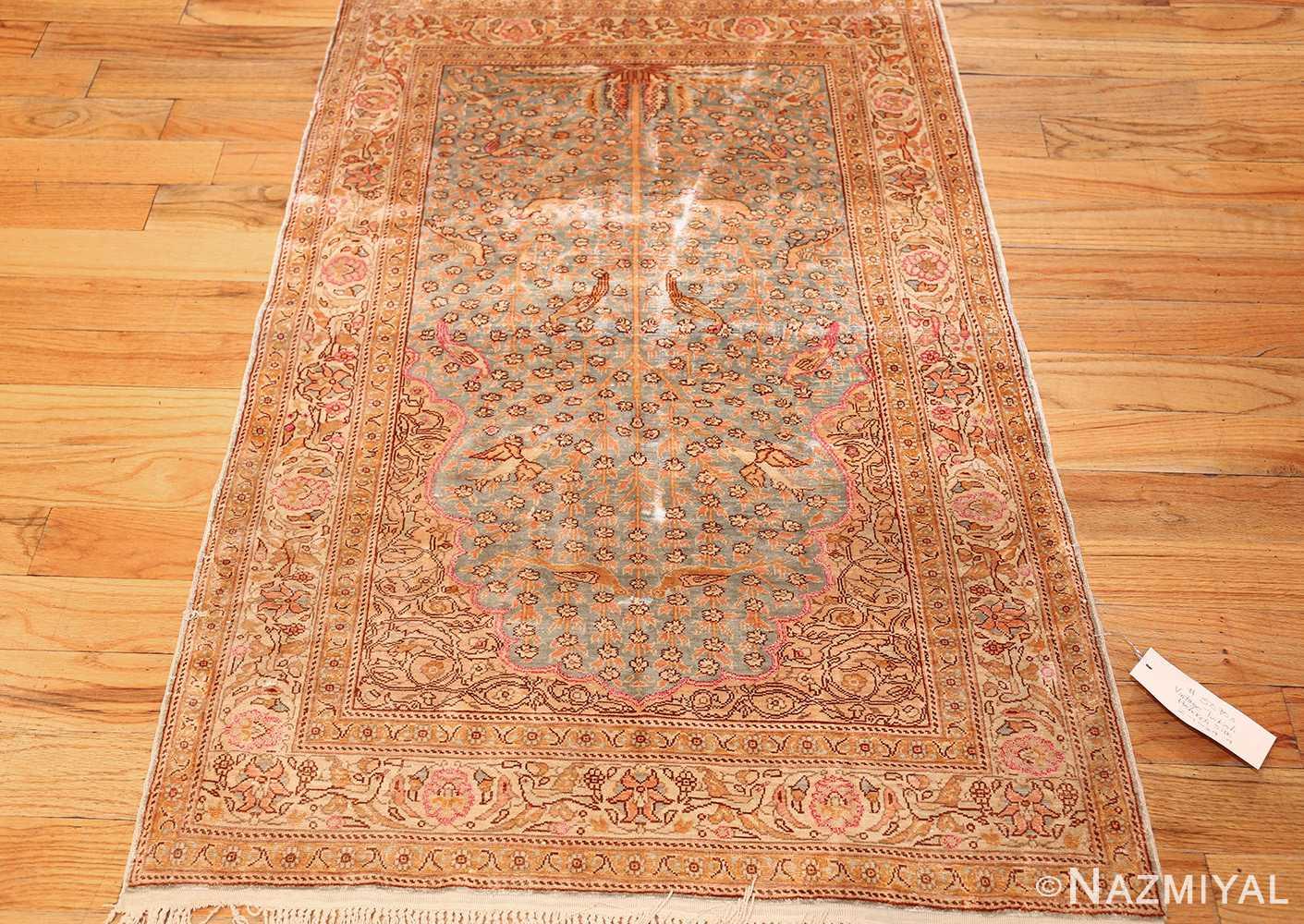 fine small size vintage silk turkish hereke prayer rug 50703 full Nazmiyal