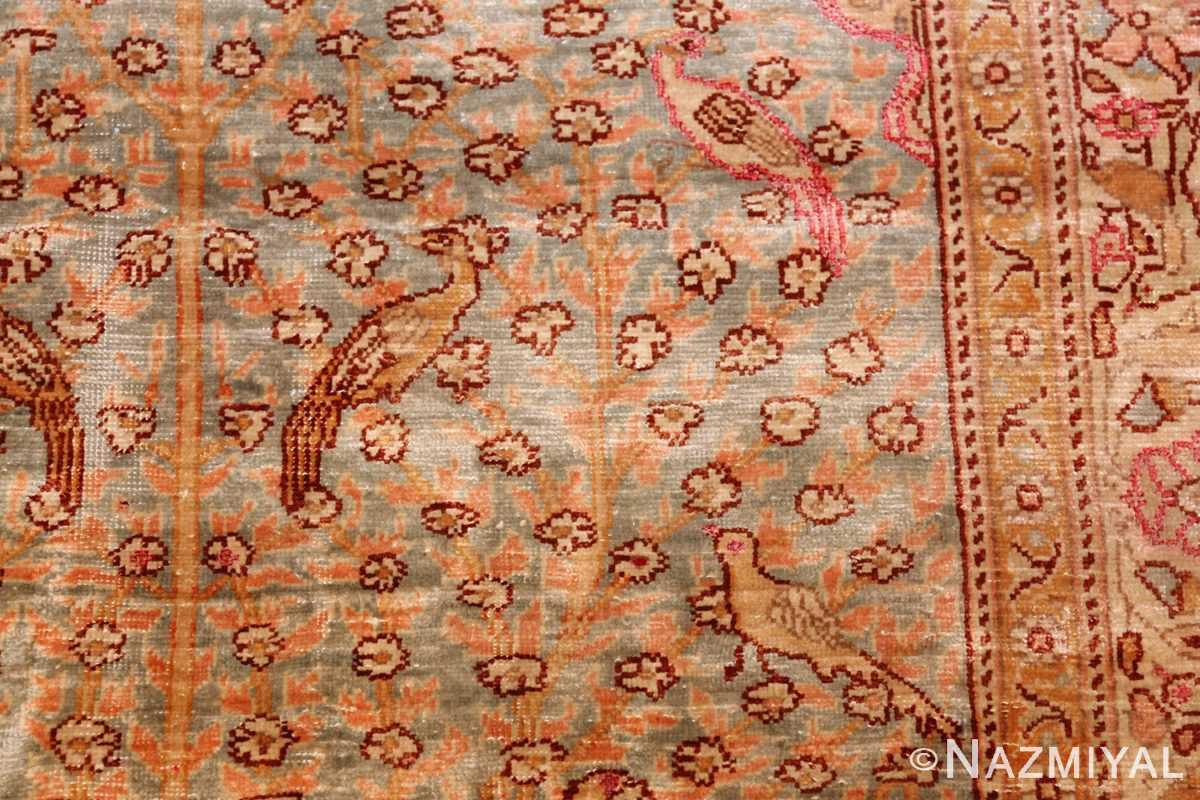 fine small size vintage silk turkish hereke prayer rug 50703 trees Nazmiyal