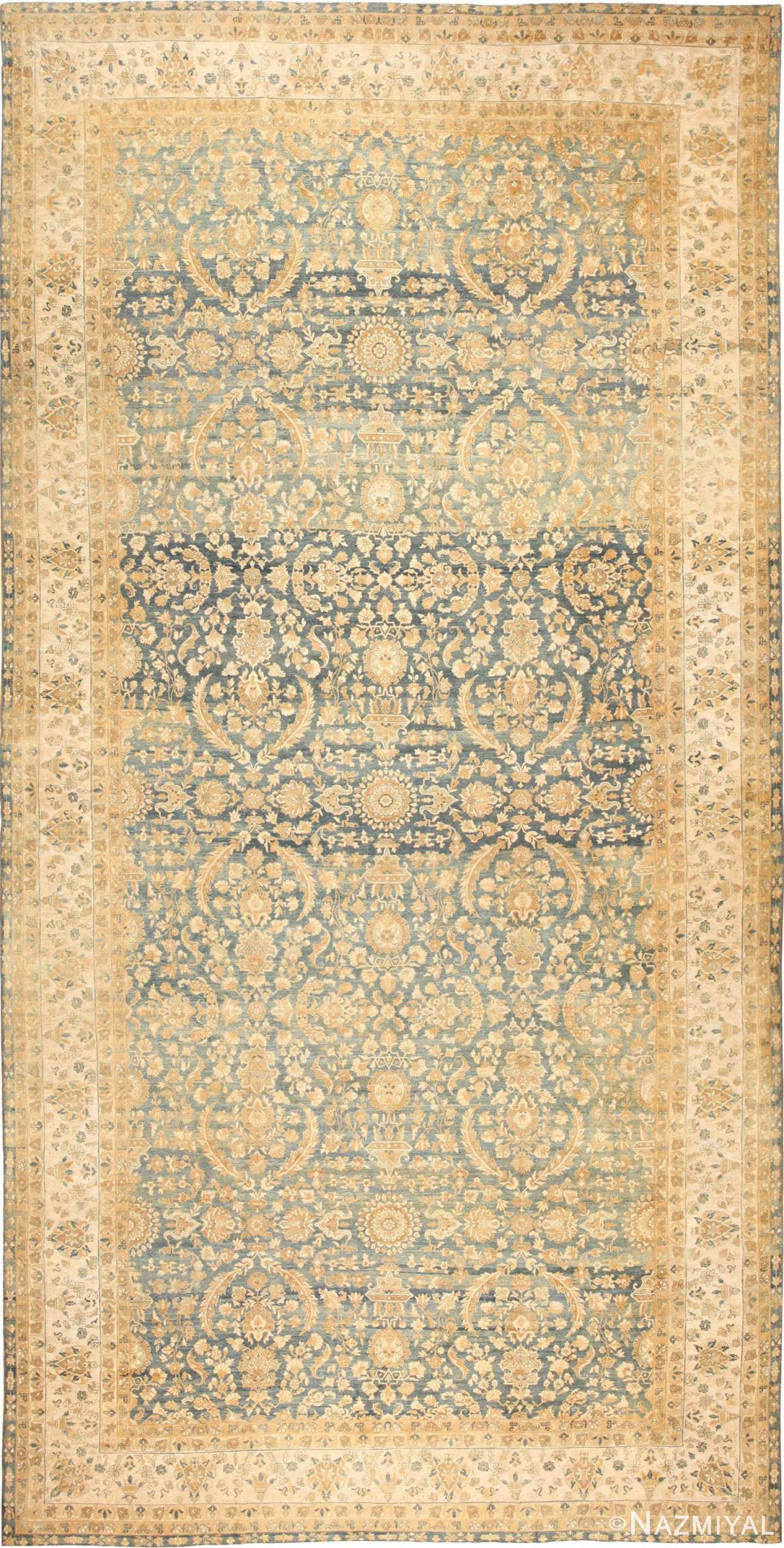 Blue Oversized Antique Persian Kerman Rug 48226 Nazmiyal Rugs