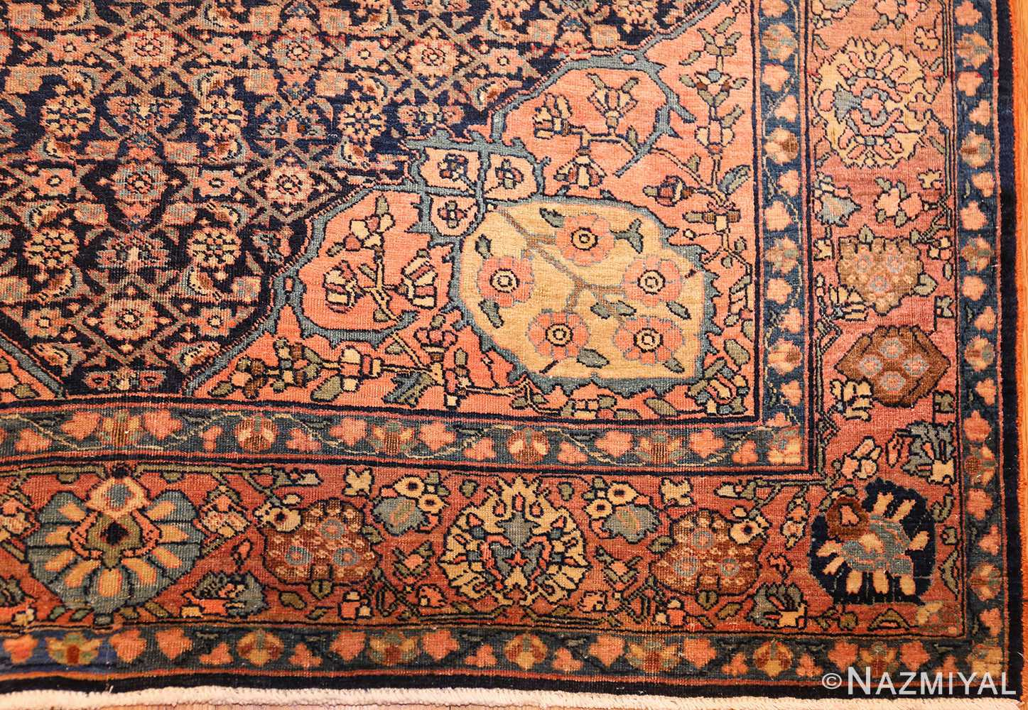 small scatter size antique persian sarouk farahan rug 50686 corner Nazmiyal