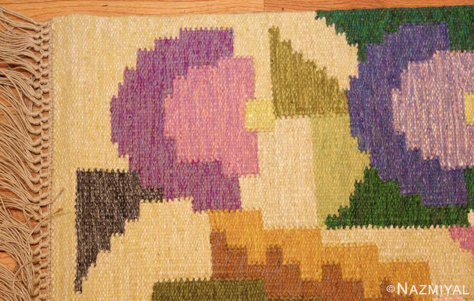small vintage swedish scandinavian kilim rug by ingegerd silow 48989 corner Nazmiyal