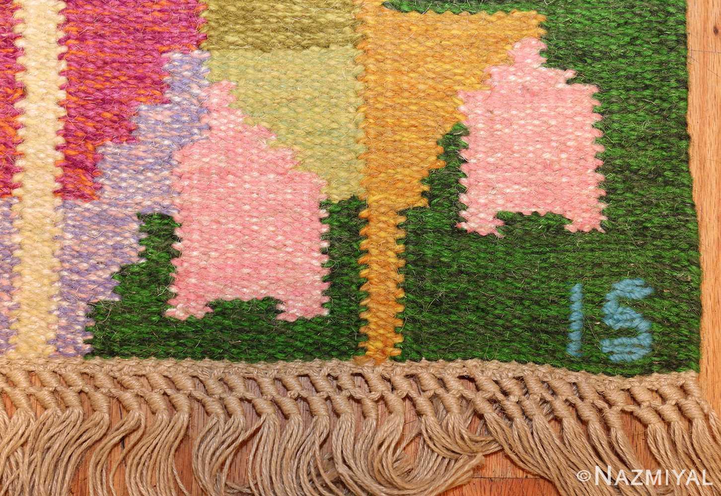 small vintage swedish scandinavian kilim rug by ingegerd silow 48989 signature Nazmiyal