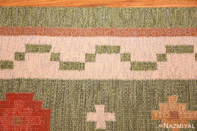 vintage flat woven green swedish scandinavian kilim rug 48990 border Nazmiyal
